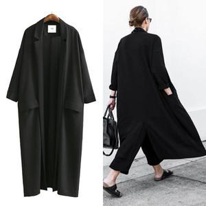 TREND-Setter 2020 Summer and Autumn Long Trench Coat Women Black Thin Oversize Loose Chiffon Windwear