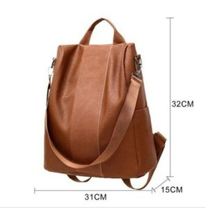 Female anti-theft backpack classic PU leather solid color backpack traveling rucksack black fashion shoulder bag school bags