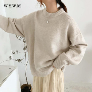 Hirsionsan Cashmere Elegant Women Sweater Oversized Knitted Basic Pullovers O Neck Loose Soft Female Knitwear Jumper