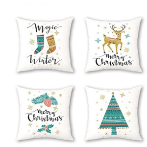 Soft Velvet Carton Christmas deer Decorative Square Throw Pillowcase, Home Decor Decorations for Sofa Couch Bed Chair 18x18 Inch