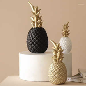 Nordic Modern Home Decor Pineapple Ornament Synthetic Resin Individual Metal Finishes Craft Window Desktop Display Props Decor1