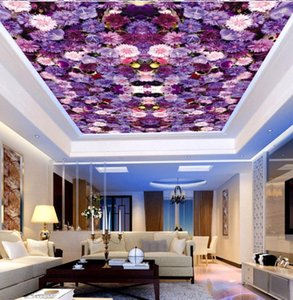 Purple Flower Ceiling Wallpaper for Hall Living Room 3D Wall Ceiling Murals 3d Wall Mural Flower paper Large Photo mural
