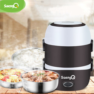 saengQ Electric Rice Cooker Stainless Steel 2 3 Layers Steamer Portable Meal Thermal Heating Lunch Box Food Container Warmer T200709