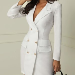 black and white V collar double breasted suit jacket and dress in 201021