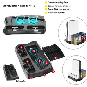 3 in 1 Vertical Stand P five console Cooling Fans P5 Dual Controllers Charger with 14 Game Storage slots with 3 USB Ports