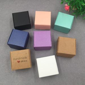 Подарочная упаковка 30 шт. / Лот 4х4x2.5 см Красочный Крафт-бумага Ювелирные изделия Упаковка маленькая коробка для ручной мыльной свадебной конфеты