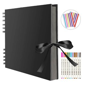 Photo Albums 80 Black Pages Memory Books A4 Craft Paper DIY Scrapbooking Picture 12 Marker Pens Wedding Birthday Childrens Gift 201202