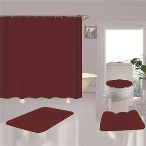 클래식 인쇄 된 홈 샤워 커튼 변기 좌석 커버 4pcs 세트 편안한 비 슬립 목욕 화장실 매트 도어 매트 욕실 액세서리