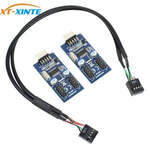 USB 2.0 placa base 9PIN Cabecera multiplicador del divisor de 9 pines del 1 al 2 EJE portuario del cable de extensión de 30 cm 60cm adaptador / conector