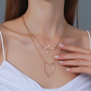 20pcs Lot Hot Double Layer Heartbeat Clavicle Chain Metal Hollow Heart Pendant Necklaces Women Love Choker Sweater Necklace Jewelry