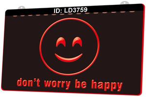 LD3759 Lächeln Gesicht nicht Sorge Seien Sie glücklich 3D-Gravur LED-Lichtschild 9 Farben Großhandel Einzelhandel Freies Design
