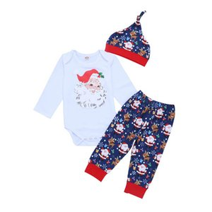 2020 new Christmas baby suits Cartoon long sleeve baby romper+pants+hats 3pcs set Newborn Outfits Infant Outfits baby clothes B2401