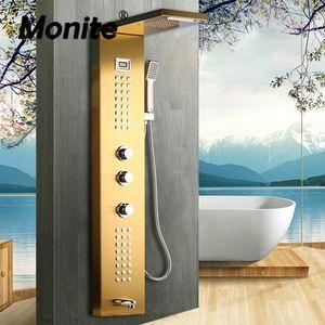 Monite Nickel Brush Shower Column Massage Jets Brudshed Gold Bathroom Rainfall Shower Head W  Hand Sprayer Shower Set Faucet LJ201211