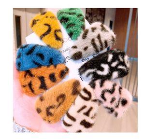 Mignon fausses épingles de cheveux accessoires de filles de la fourrure léopard triangle géométrique BB BB Clip Bijoux