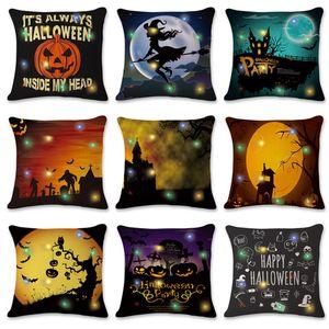 Almohada de Halloween LED Castillo Caso especia de la calabaza LED luminoso Home Sofá decorativo almohadilla de tiro de la caja 45 * 45cm