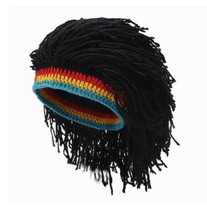 Rasta Wig Beanie Caps For Men Handmade Crochet Winter Warm Hat Gorros Halloween Holiday Birthday Gifts Funny Party Balaclava 201008