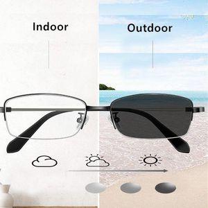 2020 многоочаговых Reading Glasses Фотохромные Открытый Женщины Мужчины Стекло металлический каркас дальнозоркостью очки Анти синий свет