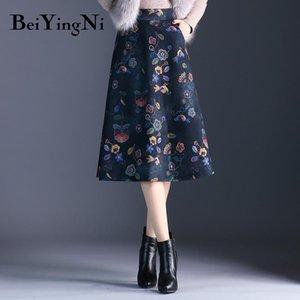 Beiyingni High Waist Skirt Women Plus Size Retro Korean Floral Print Midi Skirts New Arrival S-3XL Elegant Saias Autumn Winter