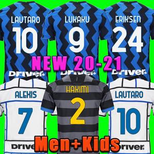 축구 유니폼 Lukaku Vidal Barella Lautaro Eriksen Alexis Hakimi 20 21 축구 셔츠 2020 2021 유니폼 남성 + 키즈 키트 세 번째