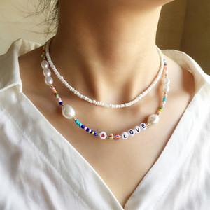 Bohemian perline colorate a catena lettere di amore collana di monili delle donne choker del bicchierino in rilievo della perla collane regalo di Natale 2pcs / set