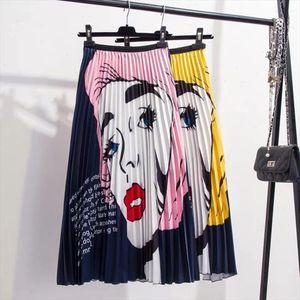 High Waist Pleated Skirt Women Summer Fashion Cartoon Printed Midi Skirts Womens Elastic A Line Rok 2021 New Streetwear