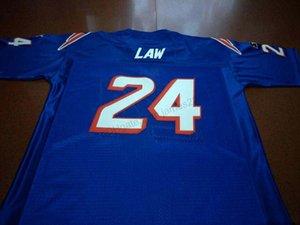Cheap costume retrò # 24 Ty Law Gioco Worn cucita Bianco Blu College Football Jersey degli uomini di qualsiasi formato 2XS-5XL Nome Numero Jersey Trasporto libero