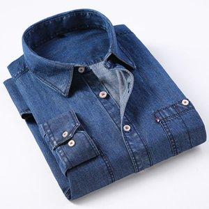 Casual Denim Shirt men Long Sleeve Cotton regular Fit denim Jeans shirt western Fashion Man's Clothes Easy Care Comfortable 201013