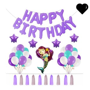 Mermaid Aluminum Film Balloons Party Happy Birthday English Letter Balloon Suit Purple Blue White Festival Decoration New Arrival 22 58zk L1