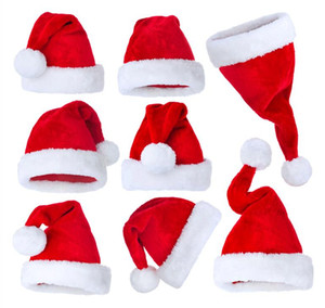 Plush Red Velvet Santa Hat with White Cuffs Party Caps For Boys Girls adult Christmas Gifts High Quality Soft Hats Hair Accessories OWE2202