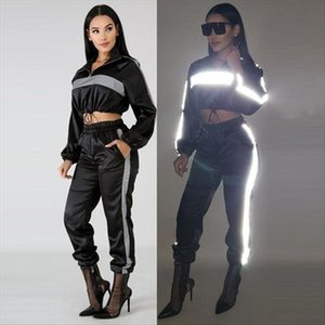 Long Sleeve Reflective Patchwork Two Piece Set Outfits Women Long Sleeved Short Tops and Casual Cargo Pants Tracksuit
