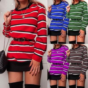 Tops Tshirt For Women Women Designers Clothes 2020 Long Sleeve Crew Neck Striped Panelled Pullovers Slim