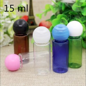 100 pcs Free Shipping 15 ml Multi Colored Plastic Bottle Round Cover with Inner Plug Perfume Toner Packaging Cosmetic Container