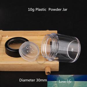 100pcs / lote vazio plástico Pó 10g Jar com Sifter 1 / Jar 3 onças de creme com preto Lid 10ml Mulheres Cosmetic Container pequeno frasco