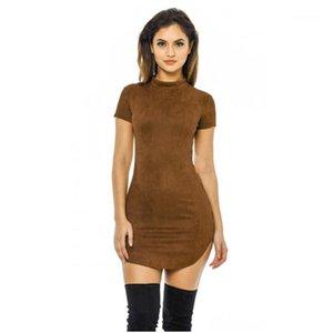 Платья для вечеринок Оптовая продажа - 2021 летние с коротким рукавом Slim Mini платье вскользь дамы Vestido старинные женщины коричневые плотные искусственные замшевые платья