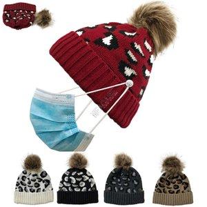 مصممون الشتاء محبوك صفعة قبعة إمرأة ليوبارد بيني مع قناع الوجه حامل زر أساور الجمجمة كاب بوم للإزالة bobble القبعات D102704