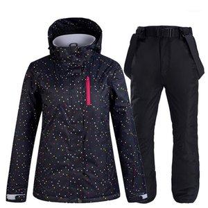 New Ski Suit Thick Warm Women Waterproof Windproof Skiing Snowboarding Jacket Pants Set Women Winter Snow Wear Suits1