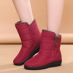 The new non-slip waterproof winter boots plus cotton velvet women shoes warm light big size 41 42 snow boots fgb67