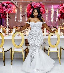 Real pics African Black Women Mermaid Wedding Dresses Bridal Gowns Off Shoulder Lace Appliques Slim Beautiful Ladies Vestidos