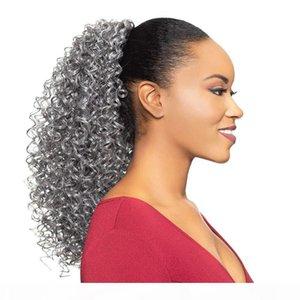 Natrual Grey Hair Kinky Culry Canera de caballo Extensión del cabello Real Brasileño Virginal Hair Grey Ponytail Afro Puff Clip en el cordón PonyTails Sliver
