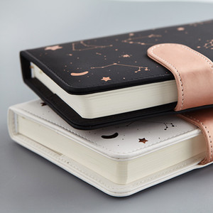Notebook Agenda Planner Starry sky pattern A6 Small diary Fullyear planner Undated Daily&Monthly plan Soft leather 288 pages