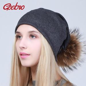 Bonnet de Geebro femmes Chapeau avec Pompom printemps coton Chapeaux Bonnets avec fourrure de raton laveur Pompon Skullies Balaclava Caps pour les filles JS294