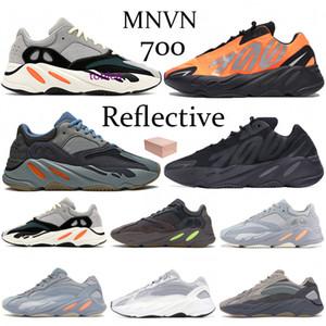 Yeni 700 MNVN Kanye West Dalga Runner Portakal Fosfor Kemik Yansıtıcı V1 V2 Katı Gri Karbon Mavi Vanta Womens Sneakers Ayakkabı Koşu