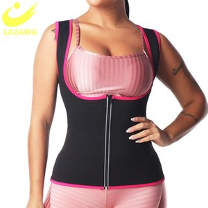 LAZAWG Women Sweat Sauna Shirt Shapewear Waist Trainer Slimming Corset Tummy Control Thermal Body Shapers Gym Vest Suits Zipper