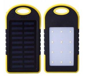 새로운 5000mAh 충전기 모바일 전원 LED 캠핑 램프 손전등 듀얼 USB 배터리 태양 전지 패널 방수 휴대용 은행 핸드폰