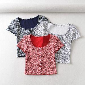 Blusas femininas camisas 2021 verão mulheres blusa floral camisa de manga curta camisa coreano placas no quadrado botão de pescoço quadrado acima da moda da colheita de Kawaii