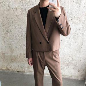 Coreano soltas 2020 do Outono E Inverno Nova Juventude Men Popular cor sólida trespassado terno + Calças retas Suit