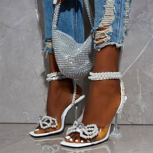 2020 New Summer Fashion Sweet Elegant Butterfly-knot Bling String Bead Stiletto Heels Sandals Party For Women Shoes