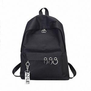 45# Fashion Men Women Backpack Waterproof Canvas Travel Backpack Female Ring Decoration Shoulder Bookbags Satchel Travel mNVP#