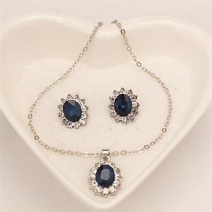 Conjuntos de joyas de girasol Pendientes colgantes Pendientes de cristal Inlay Mujer Moda Accesorios Princesa Collares Oído Colgantes 2 54ly K2