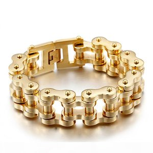 free sipping GNAYY 201g Heavyweight Gold color Stainless steel Big biker Motorcycle chain Men's Bracelet Large Bangle 9'' xma